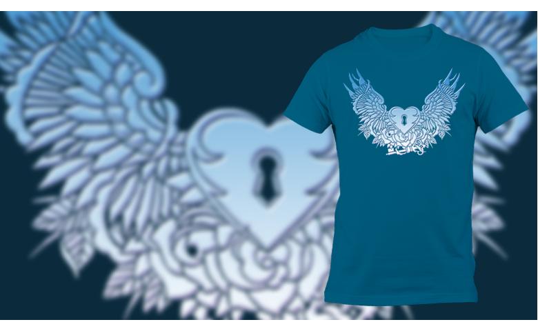 Mėlyna širdis su sparnais